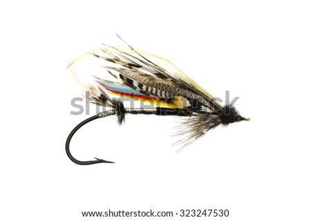 Mar Lodge salmon fly shot against a white background