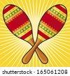 maracas instrument (colorful mexican maracas) - stock vector