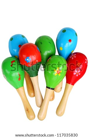 maracas, musicial instrument, isolated - stock photo