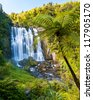 Marakopa Falls North Island New Zealand - stock photo