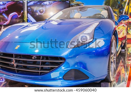 MARANELLO, ITALY - APRIL 2015: Museum Enzo Ferrari. Blue Ferrari California T with The Cavallino Rampante, symbol of Ferrari on. Front view.