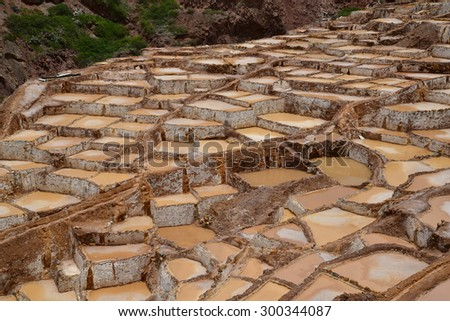 Maras salt mine in  Cuzco, Peru