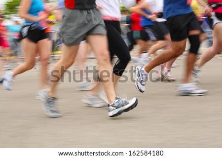 Marathon, motion blur - stock photo
