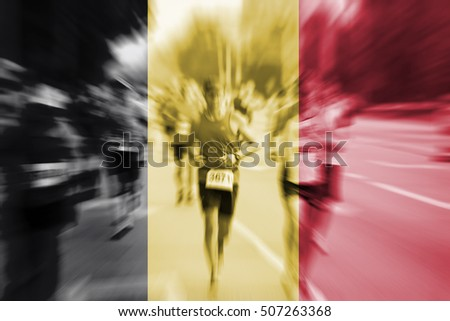 Marathon runner motion blur with blending  Belgium flag