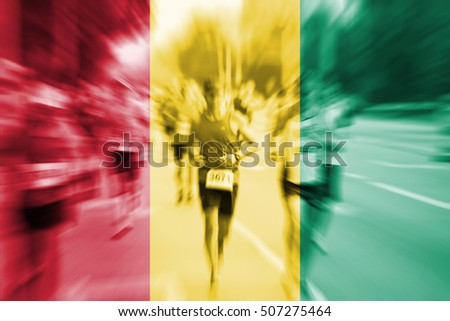 Marathon runner motion blur with blending  Guinea flag