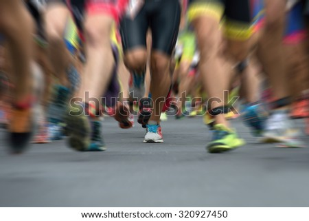 Marathon runners in the race,abstract - stock photo