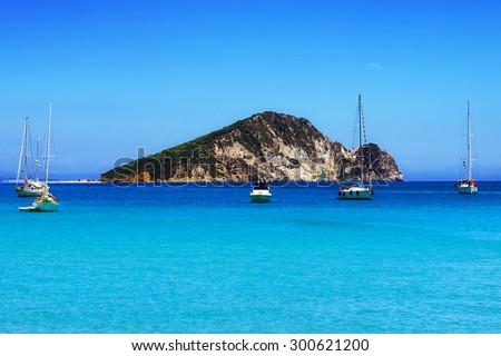 Marathonisi islet near Zakynthos, Greece - stock photo