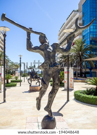MARBELLA, ANDALUCIA/SPAIN _ MAY 4 : Salvador Dali sculpture in Marbella Spain on May 4, 2014 - stock photo