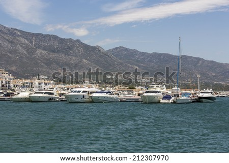 Marbella, Spain - June 24: Luxury boats and yachts at the marina in Marbella, Spain on June 24, 2014.