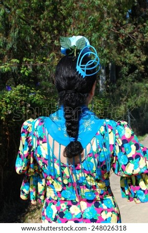MARBELLA, SPAIN - JUNE 8, 2008 - Spanish woman wearing a flamenco dress showing her plaited hair with accesories, Marbella, Costa del Sol, Malaga Province, Andalusia, Spain, June 8, 2008. - stock photo