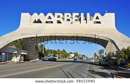 MARBELLA, SPAIN - MARCH 13: Marbella entrance sign on March 13, 2012 in Marbella, Spain. This iconic entrance sign welcomes visitors to Marbella, the famous city of Costa del Sol