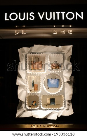 MARBELLA, SPAIN - MAY 1, 2014:  Louis Vuitton store in Puerto Banus, Marbella, Spain. For six consecutive years (2006-2012), Louis Vuitton has been named the world's most valuable luxury brand - stock photo