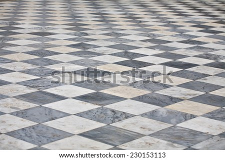 marble black and white square floor pattern perspective view