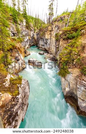 Marble Canyon in Kootenay National Park, British Columbia, Canada - stock photo