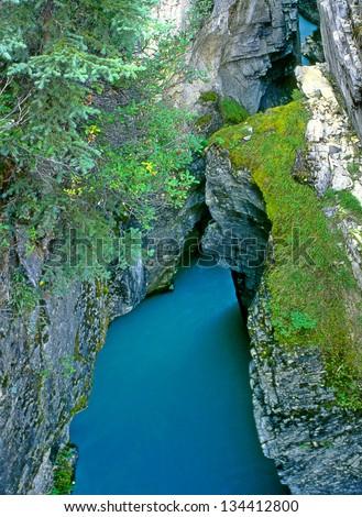 Marble canyon on the river Tokumm at Kootenay National Park, British Columbia, Canada - stock photo