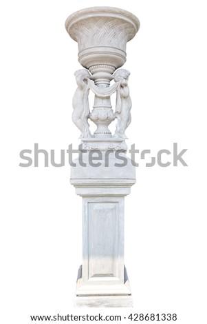Marble column isolated on white background - stock photo
