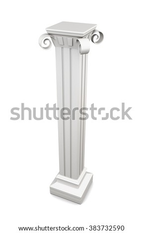 Marble column isolated on white background. 3d rendering.