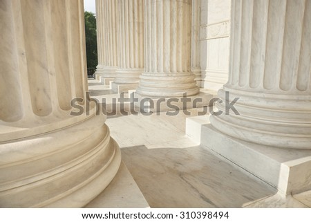 Marble columns of the Supreme Court of the United States - stock photo