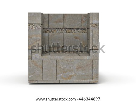 marble cube with alcove - rendered 3d illustration