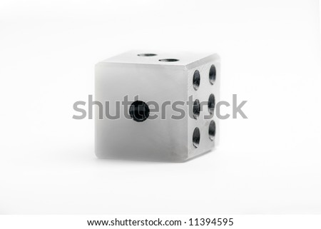 Marble dice on a white background