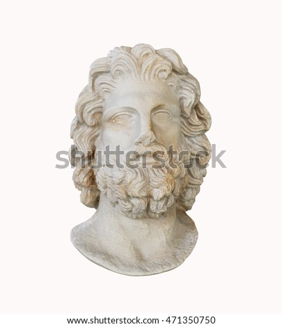 Marble greek god of medicine head statuette of Asklepios isolated over white