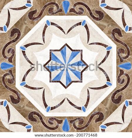 marble mosaic tiles stone ornament pattern texture - stock photo
