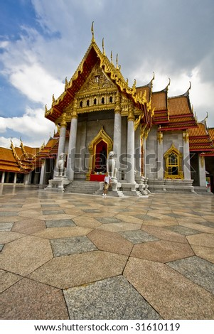 Marble palace in Bangkok. Buddhist temple in Bangkok. - stock photo