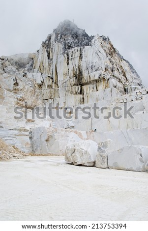 Marble quarry site in Carrara, Italy - stock photo