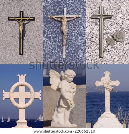 marble religious symbols of stone cross collection - stock photo