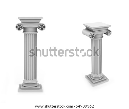Marble roman columns frontal and diagonal view isolated on white