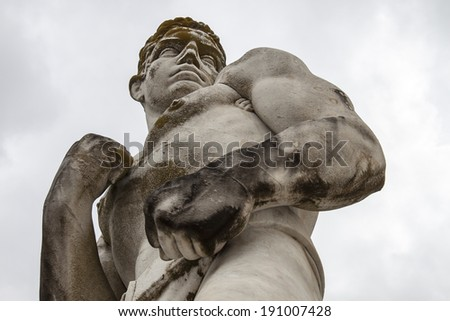 Marble sculpture of a boxer, Mussolini period Italy. Foro Italico, Rome - stock photo