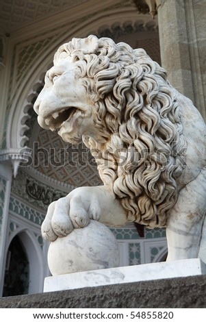 Marble sculpture of sleeping lion by the Vorontsovsky palace - stock photo