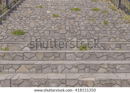 Marble Stairs Steps Or Stone Staircase In Park.