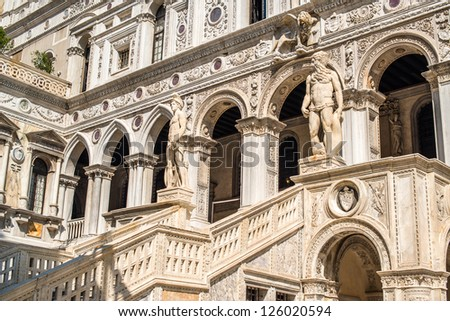 Marble stairway in the yard of Palazzo Ducale (Doge's Palace) in Venice, Italy - stock photo