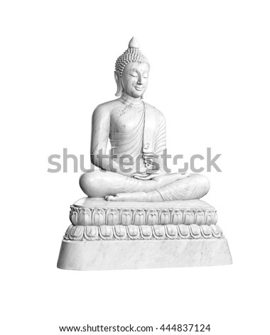Marble statue of Buddha isolated on white background