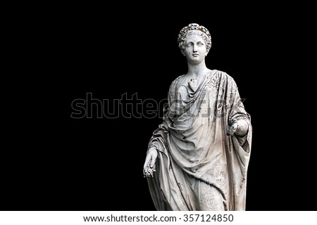 Marble statue of roman Ceres or greek Demeter isolated on black from the park of the Palace and park complex Estate of G. Galagan. Sokyryntsi village, Ukraine. Horizontal reflection of the original - stock photo