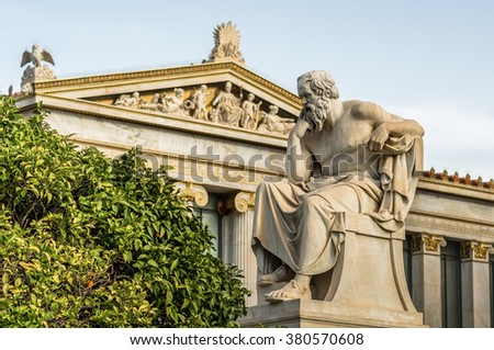 Marble Statue Of The Ancient Philosopher Socrates - stock photo