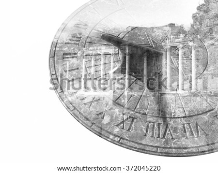 Marble sundial and old column building double exposure black and white - stock photo