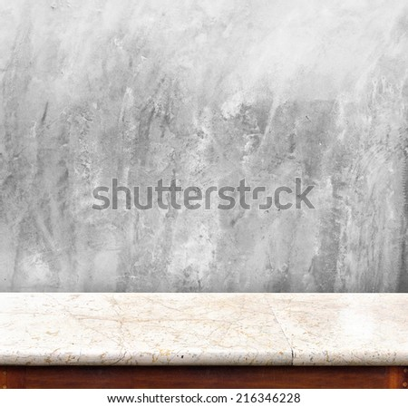 Marble table with Concrete wall ,empty interior for display your product,Business presentation - stock photo