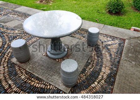 Marble Tables & Stool in Chinese garden.