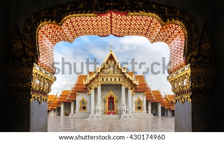 Marble temple in Bangkok,Thailand. The ancient buddhism religion temple which constructed and decorated with white marble. - stock photo