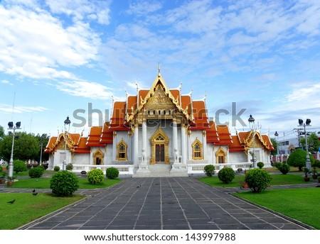 Marble Temple (Wat Benchamabophit Dusitvanaram) bangkok Thailand - stock photo