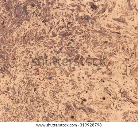 Marbled old paper. Abstract painting. Rich glamour luxury background. Retro vintage antique style. Boho, bohemian. Hand made east technique, genuine original effect. Beige brown, terracotta, red, blue - stock photo