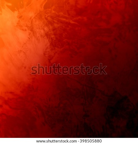 marbled textured background, glossy glass pattern of wavy texture shapes, bright orange corner lighting on black background - stock photo