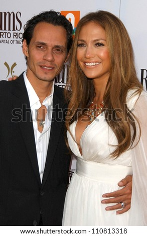 """Marc Anthony and Jennifer Lopez at the Los Angeles Premiere of """"El Cantante"""". Director's Guild of America Theatre, Los Angeles, CA. 07-31-07 - stock photo"""