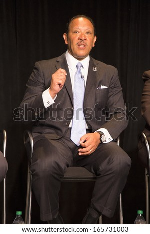 Marc Haydel Morial is an American political and civic leader president of the National Urban Leagues is seen at the Newseum Museum Panel on 50th Anniversary of Civil Rights March on Washington, D.C.