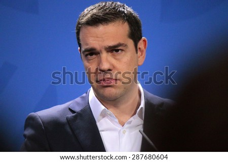 MARCH 23, 2015 - BERLIN: Greek Prime Minister Alexis Tsipras at a press conference after a meeting with the German Chancellor in the Chanclery in Berlin. - stock photo