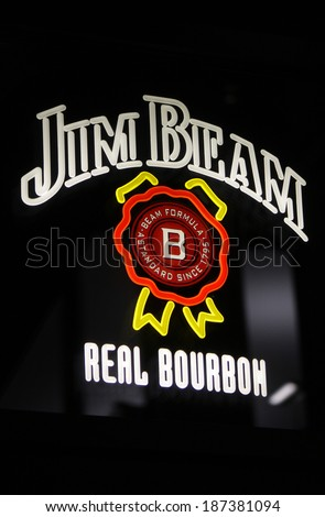 "MARCH 28, 2014 - BERLIN: the logo of the brand ""Jim Beam Real Bourbon"", Berlin."