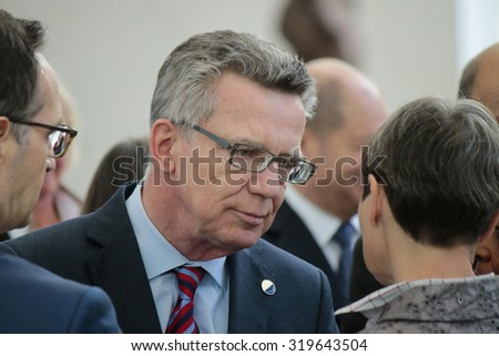 MARCH 31, 2015 - BERLIN: Thomas de Maiziere at a photo opp before a meeting of members of the French and German government in the Chanclery in Berlin.  - stock photo