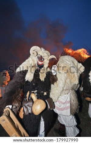 March 2., 2014, Buso festivities at Mohacs, Hungary. Masked end-of-winter carnival, where Busos, frightening-looking costumed people wearing wooden masks and big woolly cloaks.
